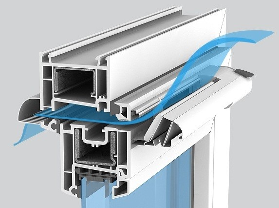 Схема работы клапана приточной вентиляции пластикового окна