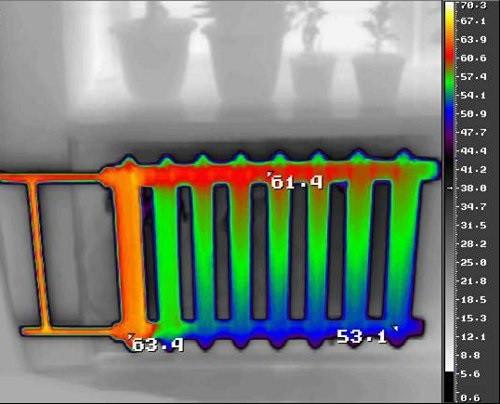 воздух в системе отопления на тепловизоре