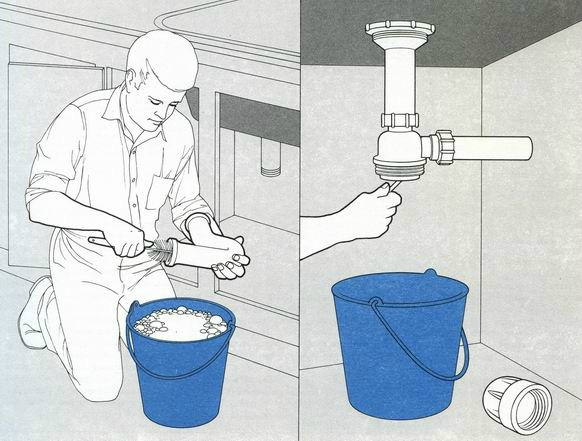 Разборка и чистка сифона