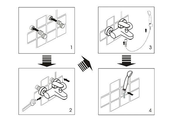 Схема монтажа смесителя в ванную