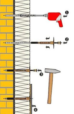 Схема крепления дюбеля и теплоизоляции
