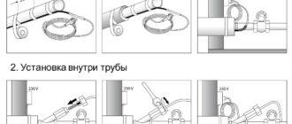 Монтаж греющего кабеля для водопровода