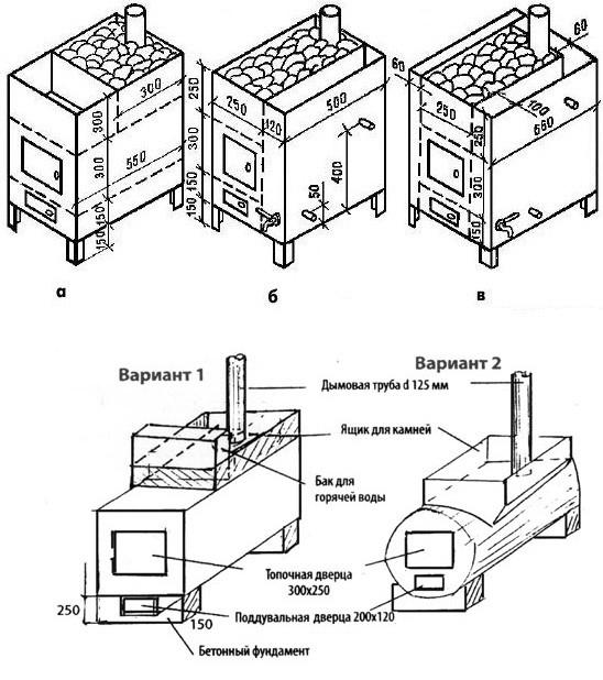 Схема печки-каменки для бани
