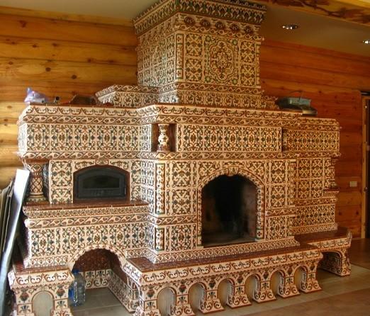 Красивая русская печь с камином