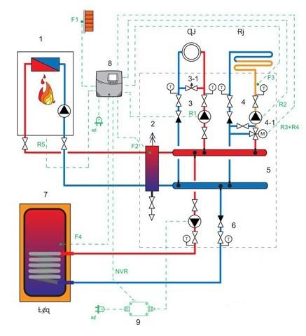 Схема подключения бойлера с помощью гидравлической стрелки