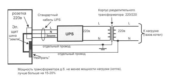 Схема подключения газового котла отопления к источнику бесперебойного питания типа Line-Interactive. через разделительный трансформатор