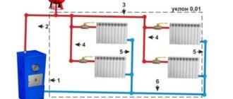 Схема двухтрубной разводки с верхней раздачей