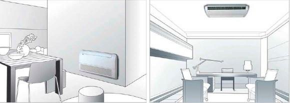напольная и потолочная установка кондиционера
