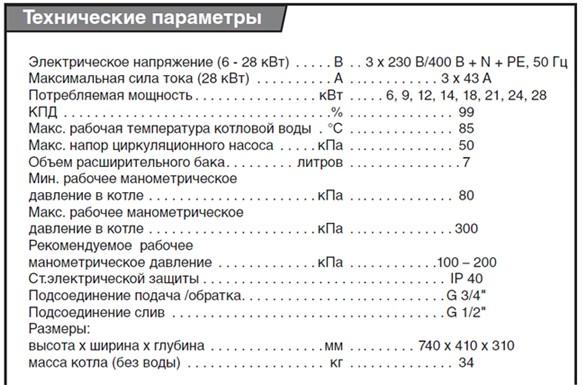 Технические параметры котла марки Protherm Скат 6-28K R13