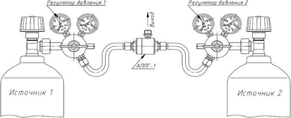 Схема подключения баллонов к рампе