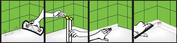 оклеивание углов ванны бордюрной лентой